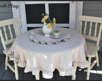 children's  ruffled tablecloth and topper