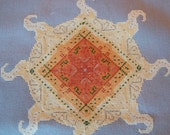 Reduced Price Cross Stitched Sun on Gray Aida, Handmade, Embellished with Gold Balgier Threads, Ready to Frame or...
