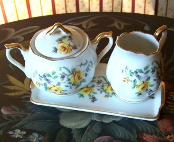 Vintage Cream and Sugar Set with Yellow Roses and matching tray, made in Japan.
