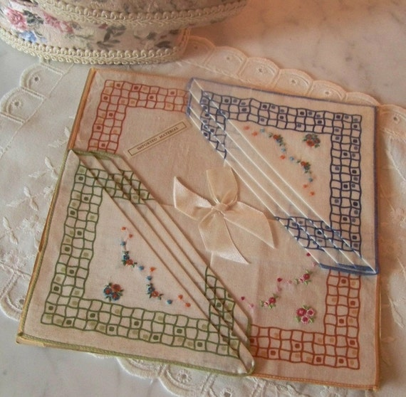 Three Embroidered Petite Point Handkerchief's on Original Paper, Orange, Green and Blue Hankies, Original Tag and Bow