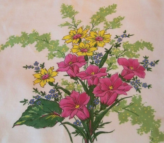 Vibrant Colors of Hot Pink, Lemon Yellow, Blues and Greens Floral Hanky with Scalloped Edge, Mint Condition
