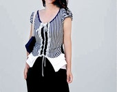 Navy blue white striped women T-shirts/jersey tops/lace cotton fancy blouses/ holiday dresses