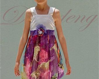 Chiffon Silk Print Purple girls dresss