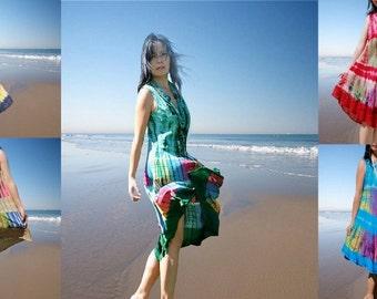 women Dress/Cotton dress/Ethnic lady dresses/ batik dress/  tie dye tie