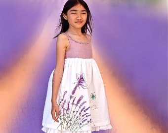 Purple white Lavande  dress/Country style girl dress/Cotton dress/Hand drawn dress