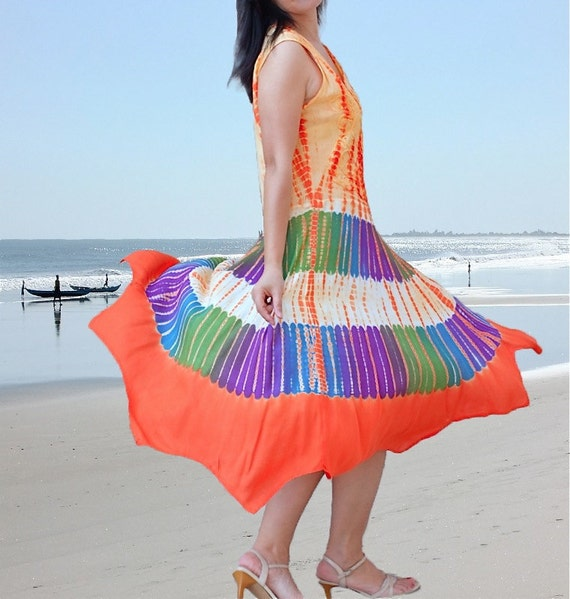 Colorful women Dresses/cotton embroidery batik dresses/hand tie dye summer holiday dresses