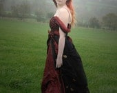 Fairytale Steampunk dress, gothic wedding dress, ball gown, Valentines Day party dress, red and black Size small UK 8 - 10 / US 4 - 6