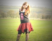 Goth fairy tutu skirt, Cyber punk, red & black skirt for fairy costume. Size Small - Medium