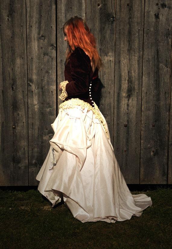 Steampunk Wedding dress, Gothic wedding gown, ball gown, red velvet bodice & silk skirt with vintage lace Size Medium M UK 12 US 8