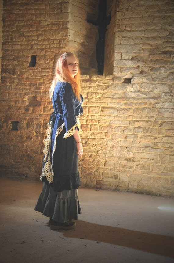 Romantic Steampunk Pirate jacket, blue lace coat for a gypsy pirate costume with tails & embellished with vintage lace. Size M Medium