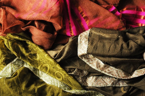 Bundle of Indian Sari Fabric, silk, chiffon, 3 Complete Sarees, Woodland brown green material for crafts, dressmaking, accessories ribbons