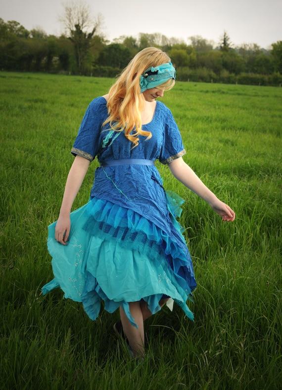 Tattered Fairy costume, silk Mermaid costume, Turquoise Blue paisley  Fairy Ballerina prom dress Size xl extra large UK 18 - 20 US 14 - 16