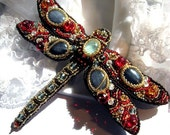 """Beaded dragonfly brooch """"Tizia"""" with aquamarine and gray agate"""