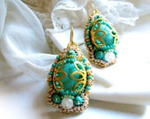 Bead embroidered earrings with turquoise and rose quartz