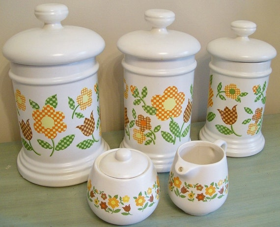 McCoy Pottery Canisters and Matching Sugar Bowl and Creamer 1970s