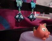 Butterfly Dice Earrings - Green Agate-Styled