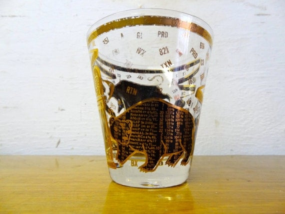 """Vintage 60's Mod Wall Street Tumblers """"Bull and Bear"""" Mad Men"""
