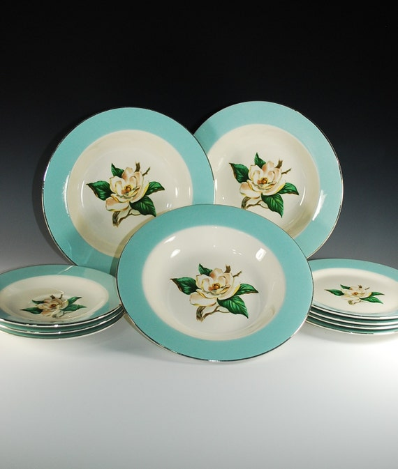 Homer Laughlin Dinnerware1957 In Turquoise Pattern Magnolia