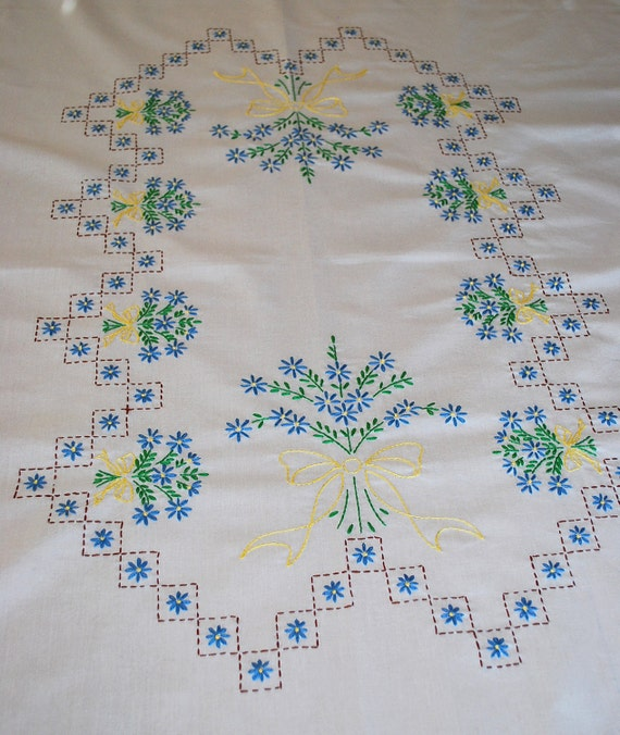 Vintage embroidered tablecloth large rectangle