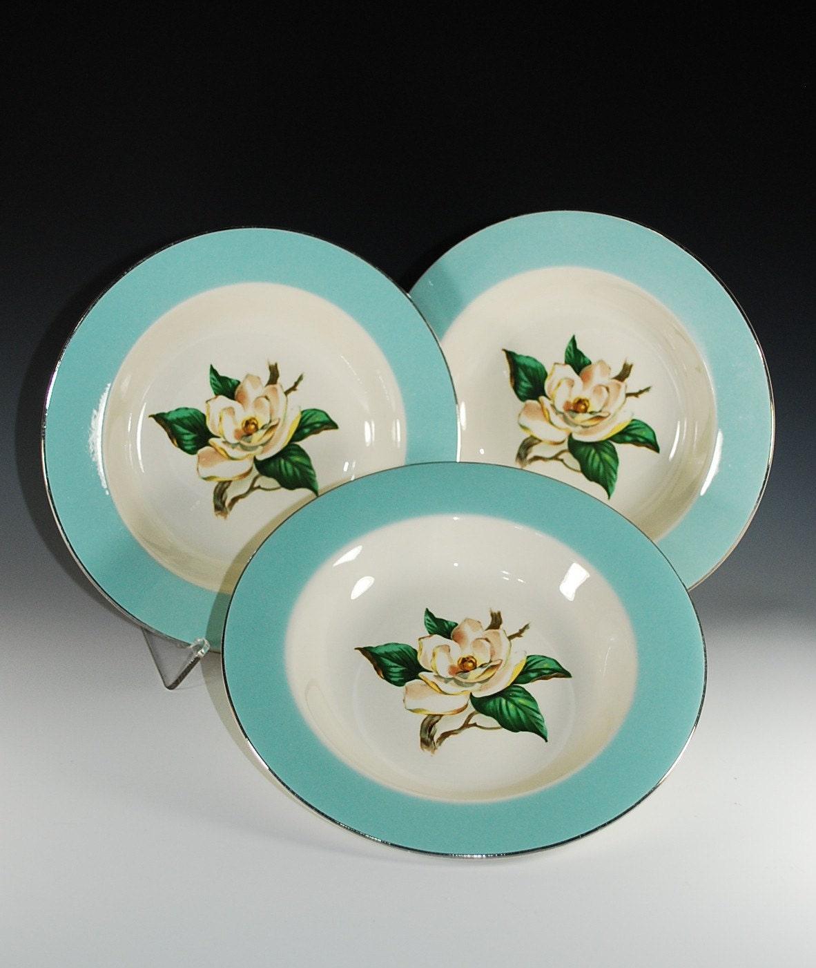 Homer Laughlin Dinnerware1957 In Turquoise Pattern Magnolia