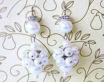 White Glass Pearls Dangle Cluster Earrings Bridal