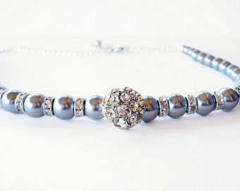 Beautiful Mystic Gray Glass Pearl and Crystal Rondelle Necklace