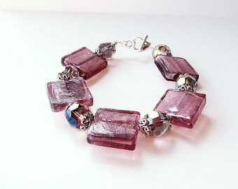 Champagne Dreams - Chunky Pink Crystal And Glass Square Beaded Bracelet