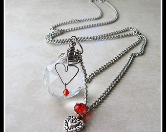 Large Crystal Wired Heart Swarovski Crystal Charm Necklace