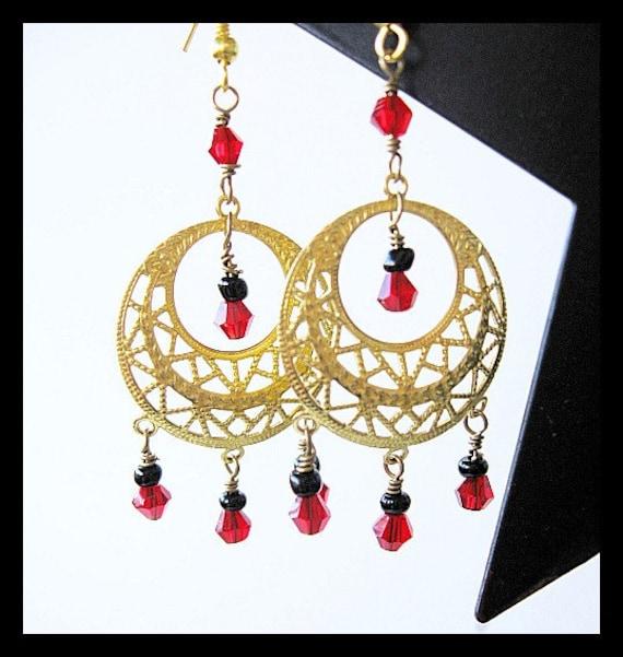 Red Swarovski Crystal Gold Filigree Chandelier Earrings