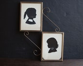 Victorian Gold Framed Girl Silhouettes
