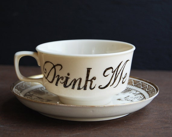 Drink Me Teacup and Saucer