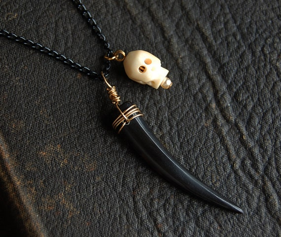 RESERVED Antiqued Black Horn and Skull Necklace