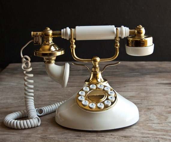 Rotary Telephone - Vintage White and Gold Dial