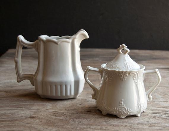 Creamer and Sugar Bowl Set - Vintage Milk Glass