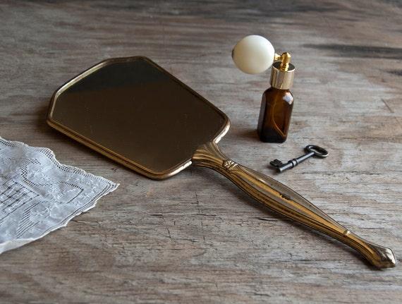 Brass Hand Mirror - Vintage Mid Century
