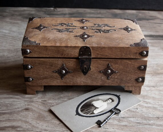 Wooden Treasure Chest Jewelry Box