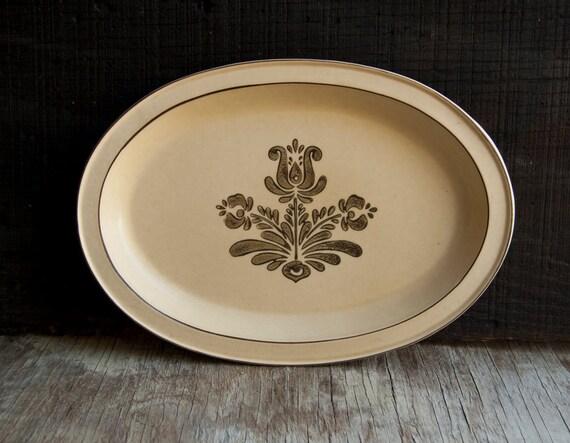 Pfaltzgraff Serving Platter - Vintage Village Ivory Cream - Brown Flowers