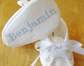 WHITES, Baby BOY Baptisim or Christening Shoes, White with baby blue embroidery, FREE Personalization, personalized baby boy shoes