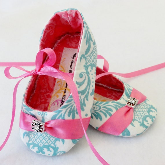 Items similar to TEAL DAMASK Baby Shoes with Hot Pink
