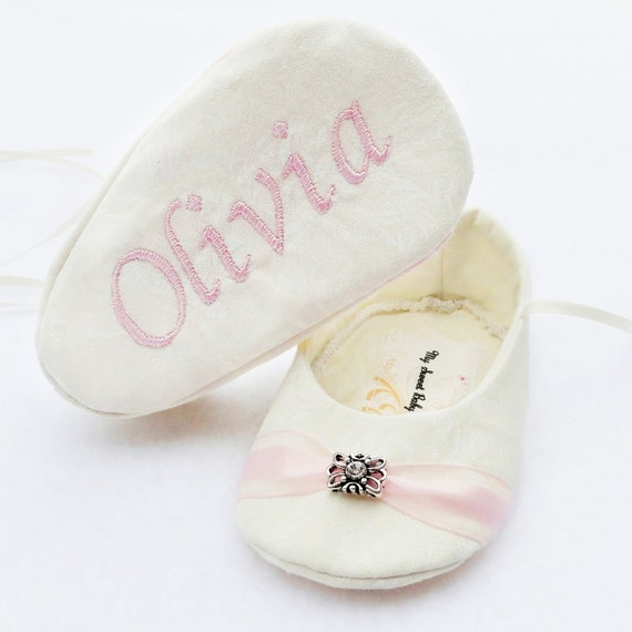 Personalized Baby Shoes Ivory Rose Baby Girl Shoes FREE