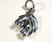 LION CHARM-PENDANT in Antiqued Sterling