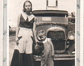 Mom, Son, Chow Puppy Ford Model A  1929,1930 Real Photo Snapshot 1934