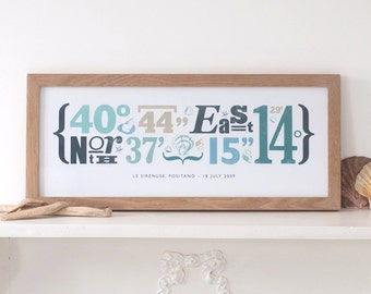 Personalized Typographical Coordinate Print, Coastal Style - Unique gift for wedding, anniversary, new home, etc - Personalised
