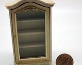 Miniature dollhouse furniture half scale dislpay cabinet undecorated