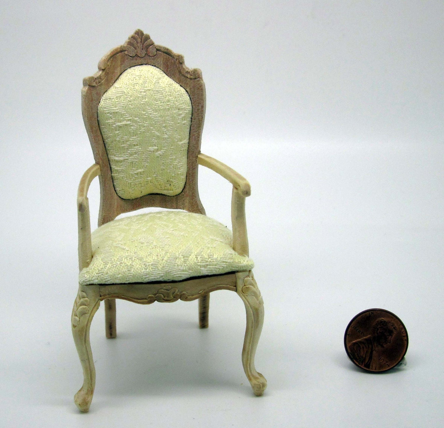 Miniature Dollhouse Furniture Undecorated Chair With Armrests