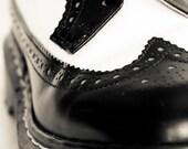 8x12 PHOTOGRAPH - Black and White Dr. Marten Wingtip Shoes