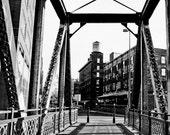 10x15 Photograph - Black and White Old Rail Bridge in Downtown Denver, Colorado