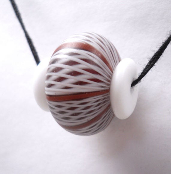 American Trade Bead - Wisconsin  - Squat bead with button ends. Hollow blown boro glass lampwork. Relisted, original price 30.00
