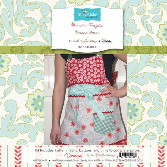 Emily Taylor for Riley Blake Designs - Verona Apron Project Kit in Rouge Red - Everything Included to Make Cute Apron
