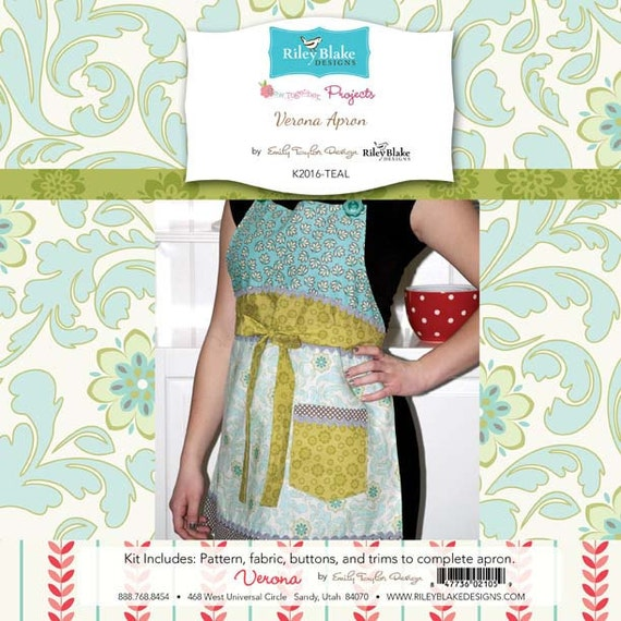 Emily Taylor for Riley Blake Designs - Verona Apron Project Kit in Teal - Everything Included to Make Cute Apron